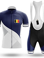 cheap -21Grams Men's Short Sleeve Cycling Jersey with Bib Shorts Blue Belgium National Flag Bike Clothing Suit UV Resistant Breathable 3D Pad Quick Dry Sweat-wicking Sports Belgium Mountain Bike MTB Road