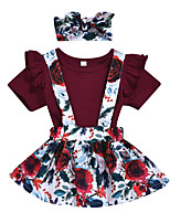 cheap -Baby Girls' Active Boho Rose Floral Print Pleated Print Short Sleeve Regular Regular Clothing Set Wine