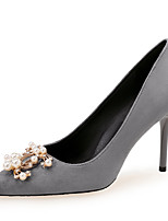 cheap -Women's Heels Stiletto Heel Pointed Toe Imitation Pearl Suede Sweet / Minimalism Spring &  Fall Burgundy / Light Grey / Black / Party & Evening
