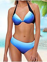 cheap -Women's Blue Bikini Swimwear Swimsuit - Color Block S M L Blue