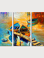 cheap -Hand Painted Canvas Oilpainting Impression Landscape Boats Set of 3 Home Decoration with Frame Painting Ready to Hang