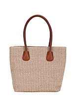 cheap -Women's Zipper Straw Top Handle Bag Solid Color Brown / Dark Brown / White