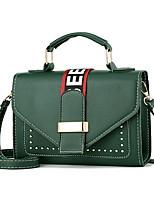 cheap -Women's Zipper PU Top Handle Bag Solid Color Black / Maroon / Blushing Pink