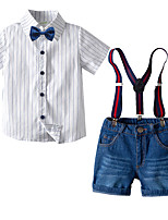 cheap -Kids Toddler Boys' Basic Birthday Party Party & Evening Striped Short Sleeve Regular Regular Clothing Set White