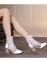cheap -Women's Boots Chunky Heel Round Toe Leather Mid-Calf Boots Spring &  Fall Pink / Gold / White