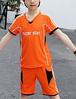 Недорогие -Дети Мальчики Активный Спортивная одежда на открытом воздухе Геометрический принт Пэчворк Пэчворк С принтом С короткими рукавами Обычный Обычная Набор одежды Оранжевый