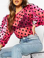 cheap -Women's Daily Beach Basic / Street chic Blouse - Polka Dot Mesh / Print Black
