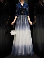 cheap -A-Line V Neck Floor Length Tulle / Velvet Glittering / Blue Formal Evening / Party Wear Dress with Sequin 2020
