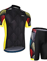 cheap -21Grams Men's Short Sleeve Cycling Jersey with Shorts Black / Yellow Bike Clothing Suit UV Resistant Breathable 3D Pad Quick Dry Sweat-wicking Sports Lines / Waves Mountain Bike MTB Road Bike Cycling