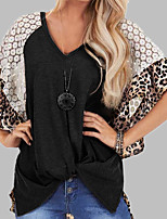 cheap -Women's Daily Sports Basic / Street chic T-shirt - Leopard / Solid Colored Lace / Print Black