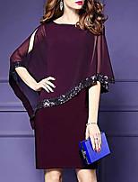 cheap -Women's Purple Black Dress A Line Solid Color M L