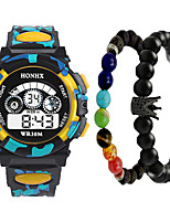 cheap -Men's Digital Watch Quartz Black Calendar / date / day Chronograph Alarm Clock Digital Outdoor Cool - Yellow Red Orange One Year Battery Life
