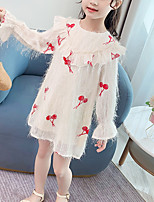 cheap -Kids Girls' Cute Cherry Jacquard Solid Colored Ruched Patchwork Long Sleeve Above Knee Dress Blushing Pink