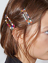 cheap -Women's Hair Claws Hairpins For Party / Evening Masquerade Street Party & Evening U Shape Geometrical Pearl Rhinestone Silver Plated Rainbow 1pcs / Alloy