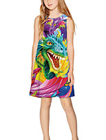 cheap -Kids Girls' Basic Cute Cartoon Print Sleeveless Above Knee Dress Rainbow