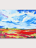 cheap -IARTS®Hand Painted Red fields blue sky Oil Painting   with Stretched Frame For Home Decoration