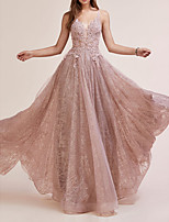 cheap -A-Line V Neck Floor Length Lace Sparkle / Pink Engagement / Prom Dress with Sequin / Appliques 2020