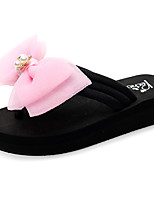 cheap -Women's Slippers & Flip-Flops Flat Heel Open Toe Bowknot / Sparkling Glitter Polyester Casual / Sweet Walking Shoes Summer Black / Fuchsia / Pink
