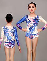 cheap -Rhythmic Gymnastics Leotards Artistic Gymnastics Leotards Women's Girls' Kids Leotard Spandex High Elasticity Handmade Long Sleeve Competition Dance Rhythmic Gymnastics Artistic Gymnastics Blue