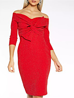 cheap -Sheath / Column Off Shoulder Tea Length Polyester Hot / Red Cocktail Party / Party Wear Dress with Bow(s) 2020