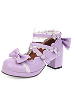 cheap -Women's Heels Chunky Heel Round Toe Bowknot / Buckle / Stitching Lace PU Classic / Sweet Spring & Summer / Fall & Winter Purple / Pink / White