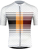 cheap -21Grams Men's Short Sleeve Cycling Jersey 100% Polyester Red / White Stripes Gradient Bike Jersey Top Mountain Bike MTB Road Bike Cycling UV Resistant Breathable Quick Dry Sports Clothing Apparel