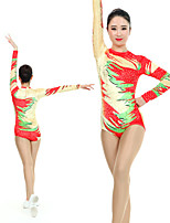 cheap -Rhythmic Gymnastics Leotards Artistic Gymnastics Leotards Women's Girls' Kids Leotard Spandex High Elasticity Handmade Long Sleeve Competition Dance Rhythmic Gymnastics Artistic Gymnastics Red