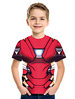cheap -Kids Boys' Basic Street chic Geometric Color Block 3D Print Short Sleeve Tee Wine
