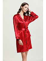 cheap -Women's Backless / Cut Out / Mesh Satin & Silk / Suits Nightwear Jacquard / Solid Colored Red Beige S M L