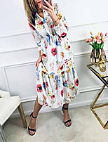 cheap -Women's Swing Dress - Print White S M L XL