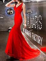 cheap -Mermaid / Trumpet V Neck Sweep / Brush Train Polyester Elegant / Red Engagement / Formal Evening Dress with Appliques 2020