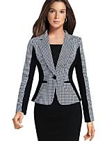 cheap -Women's Blazer, Plaid Notch Lapel Polyester Black