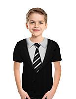 Недорогие -Дети Мальчики Активный Уличный стиль Геометрический принт 3D Пэчворк Плиссировка С принтом С короткими рукавами Блуза Черный