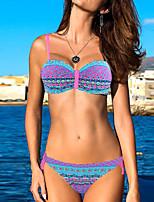cheap -Women's Boho Fuchsia Underwire Briefs Bikini Swimwear Swimsuit - Tribal Print S M L Fuchsia