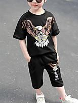 Недорогие -Дети Дети (1-4 лет) Мальчики Активный На каждый день Черный С принтом С принтом С короткими рукавами Обычный Обычная Набор одежды Черный