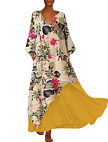 cheap -Women's Maxi Yellow Green Dress Plus Size Causal Holiday Vacation Loose Swing Floral S M Loose