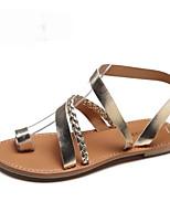 cheap -Women's Sandals Flat Heel Round Toe PU Summer Gold / Silver