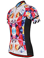 cheap -21Grams Women's Short Sleeve Cycling Jersey 100% Polyester Black / Red Plaid / Checkered Bike Jersey Top Mountain Bike MTB Road Bike Cycling UV Resistant Breathable Quick Dry Sports Clothing Apparel