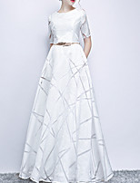 cheap -A-Line Jewel Neck Floor Length Polyester Elegant / White Engagement / Prom Dress with Pattern / Print / Sash / Ribbon 2020