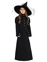 cheap -Witch Outfits Party Costume Kid's Girls' Halloween Halloween Festival / Holiday Polyster Black Carnival Costumes / Dress / Petticoat / Hat / Headwear