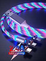 cheap -3 in 1Luminescence Magnetic Sucker Streamer LED For iPhone Type C Data Charging Micro USB for Android Data Cable 2A 1M