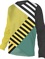 cheap -21Grams Men's Long Sleeve Cycling Jersey Downhill Jersey Dirt Bike Jersey 100% Polyester Black / Yellow Stripes Bike Jersey Top Mountain Bike MTB Road Bike Cycling UV Resistant Breathable Quick Dry