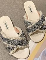 cheap -Women's Sandals Flat Heel Round Toe PU Spring & Summer Black / Beige