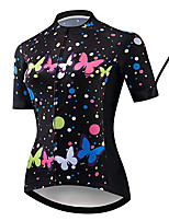 cheap -21Grams Women's Short Sleeve Cycling Jersey 100% Polyester Black / Red Butterfly Bike Jersey Top Mountain Bike MTB Road Bike Cycling UV Resistant Breathable Quick Dry Sports Clothing Apparel