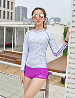cheap -Women's Rashguard Swimsuit Two Piece Swimsuit Elastane Swimwear UV Sun Protection Breathable Quick Dry Long Sleeve Swimming Surfing Water Sports Summer / High Elasticity