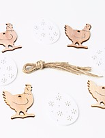 cheap -Happy Easter bunny egg Holiday Decorations  wood hang objects 1 pack 8pcs