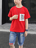 cheap -Kids Boys' Street chic Daily Wear Vacation White Red Print Color Block Patchwork Patchwork Short Sleeve Regular Regular Clothing Set White