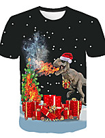 cheap -Kids Boys' Basic Street chic Santa Claus Color Block 3D Christmas Print Short Sleeve Tee Black
