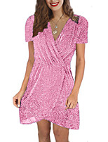 cheap -Women's Party Club Active Sexy A Line Dress - Solid Color Sequins Black Purple Blushing Pink S M L XL