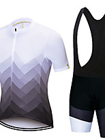 cheap -21Grams Men's Short Sleeve Cycling Jersey with Bib Shorts Black / Yellow Black / White Stripes Bike Clothing Suit UV Resistant Breathable 3D Pad Quick Dry Sweat-wicking Sports Solid Color Mountain
